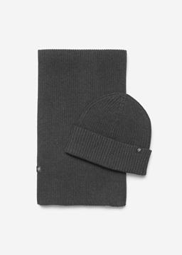 Снимка на Комплект шапка и шал от памук и кашмир