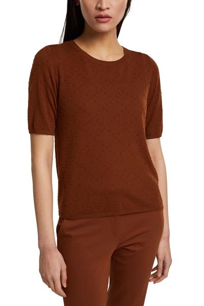 Снимка на Дамска блуза с къс ръкав с текстура на точки