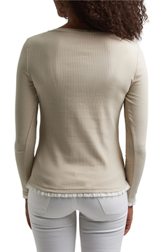 Picture of Frill detail Henley T-shirt, organic cotton