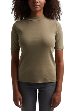 Picture of SUSTAINABLE Ribbed T-shirt with a band collar, 100% organic cotton