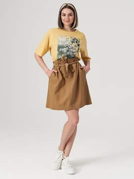 Picture of Paper bag skirt Made from blended viscose/linen/cotton