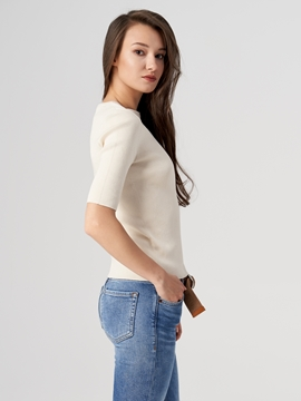Picture of SUSTAINABLE Short-sleeved jumper made of organic cotton