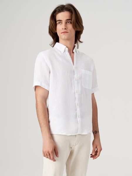 Снимка на Мъжка ленена риза с къс ръкав Regular fit