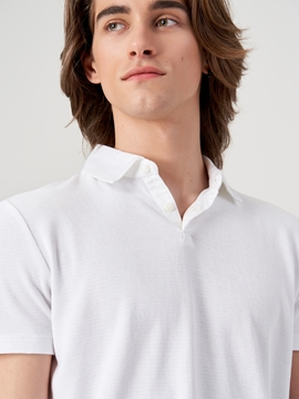 Picture of SUSTAINABLE Short-sleeved polo shirt in a fine Berber knit texture