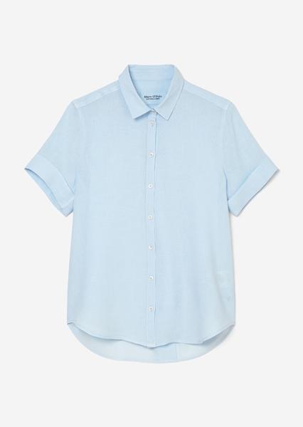 Снимка на Дамска ленена риза с къс ръкав loose fit