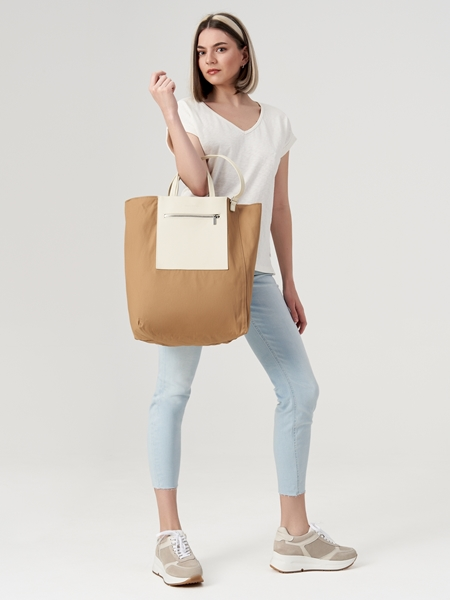 Снимка на Дамска двулицева чанта с кожени детайли