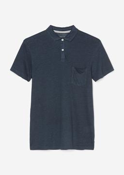 Снимка на Мъжка поли тениска с къс ръкав от лен Shaped fit