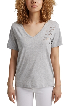 Снимка на SUSTAINABLE Дамска тениска с V- Образно деколте от органичен памук