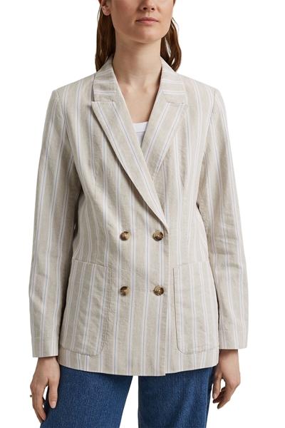 Снимка на SUSTAINABLE Дамско сако от лен и памук на райета