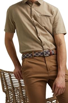 Снимка на Мъжки плетен колан комбинация с естествена кожа