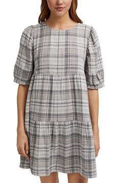 Снимка на Къса рокля на каре от  органичен памук