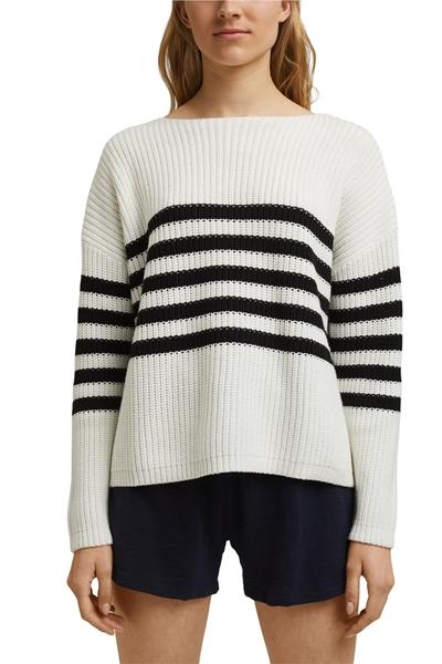 Снимка на SUSTAINABLE Дамски пуловер на райета от органичен памук