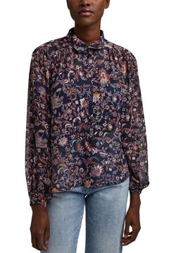 Снимка на Дамска риза с дълъг ръкав и флорален принт