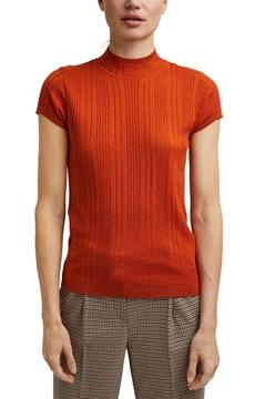 Снимка на Дамски пуловер с къс ръкав от вискоза и вълна