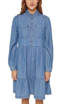 Снимка на Дънкова рокля тип риза от органичен памук