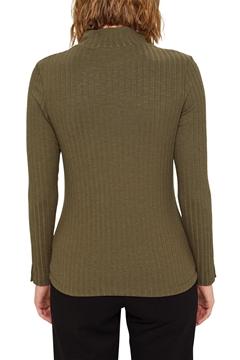 Снимка на Дамска рипсена блуза с дълъг ръкав и висока яка