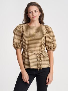 Снимка на SUSTAINABLE Дамска карирана блуза с Буфан ръкав
